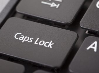 Caps lock button closeup