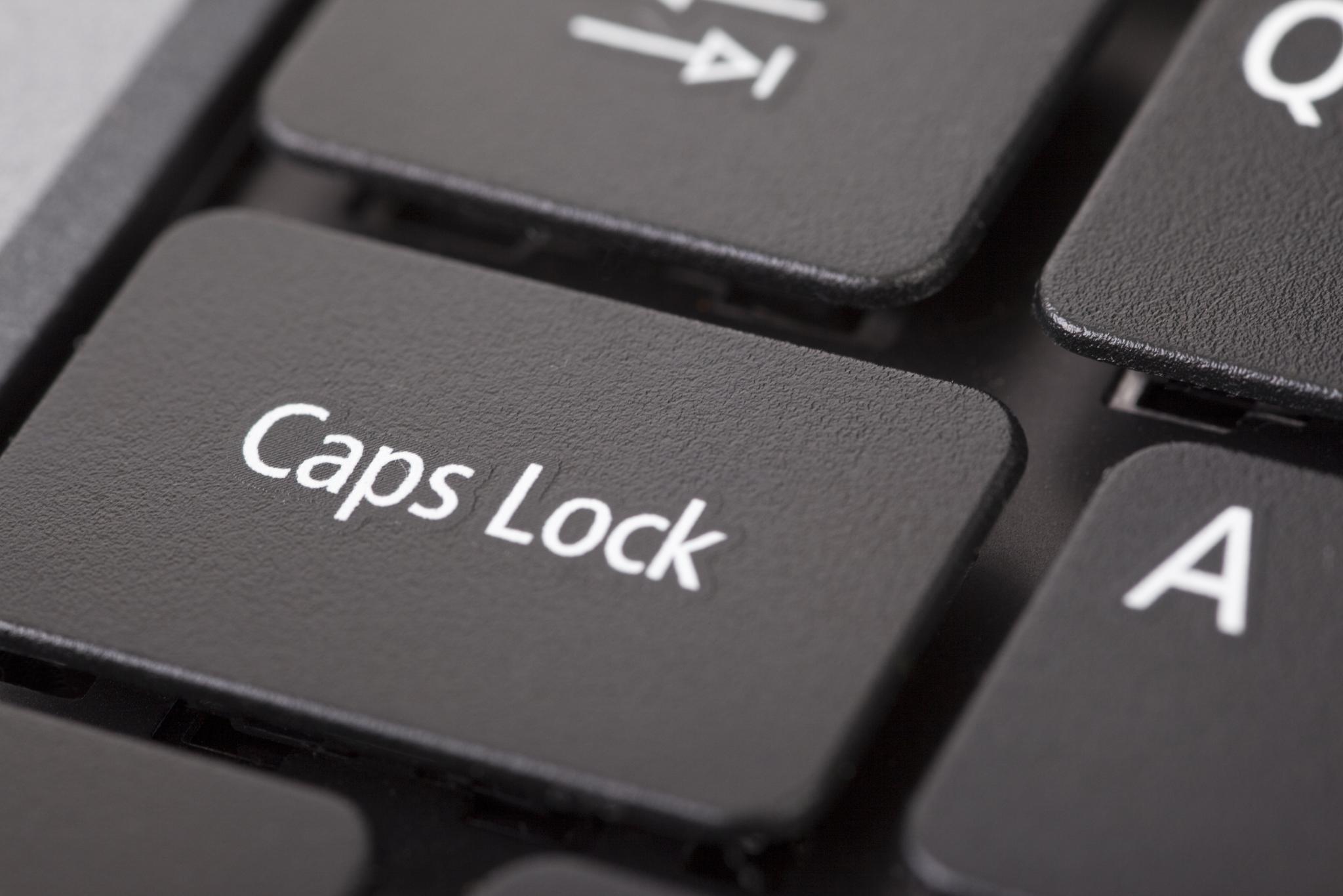 Caps lock button closeup